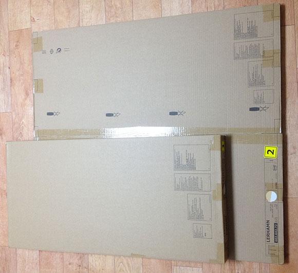 이케아 레르함(LERHAMN) 테이블 상자 모습. 두개의 포장이 하나의 세트로 이루어져 있다.